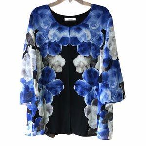 Tanjay blue flower ladies top 1X